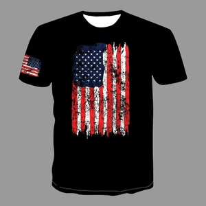 US Flag Doodle Printed Black T-Shirt 2021 Summer Pop Men Clothing Tops Fashion Short Sleeve Classic O-Neck Quick Dry Male Tees