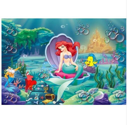 Personalizado 7x5ft Bolhas Sob o Mar Corais de Princesa Ariel Pequena Sereia Foto Estúdio Pano de Fundo