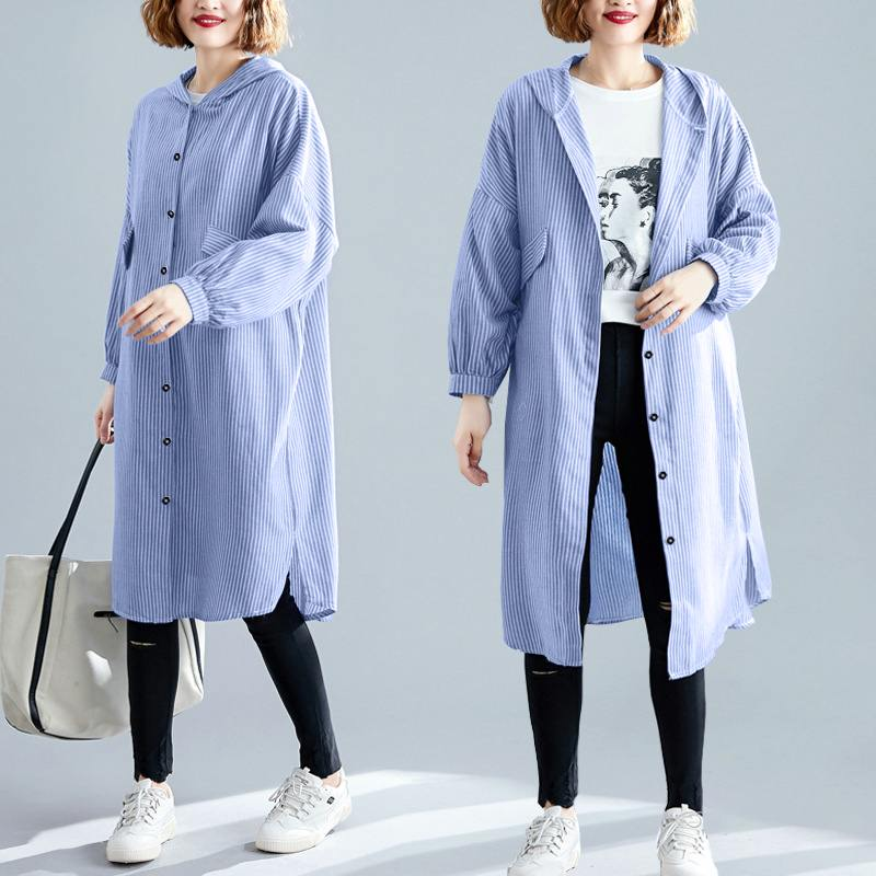2020 Spring Hooded Striped Long Shirts ZANZEA Elegant Split Blouse Women Lapel Long Sleeve Blusas Female Chemise Tunic Vestidos