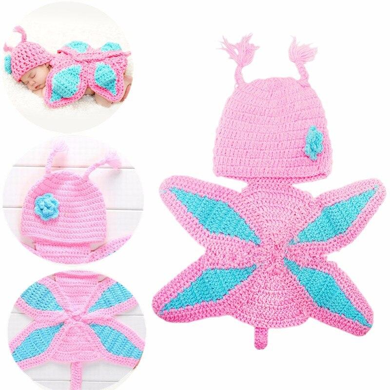 Реквизит для фотосъемки новорожденных Милая бабочка принцесса для мальчиков и девочек фото костюм ручной вязки крючком Одежда для младенц...