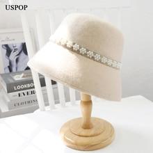 USPOP New winter hats women wool Fedoras  bucket hats pearl  flat warm hats