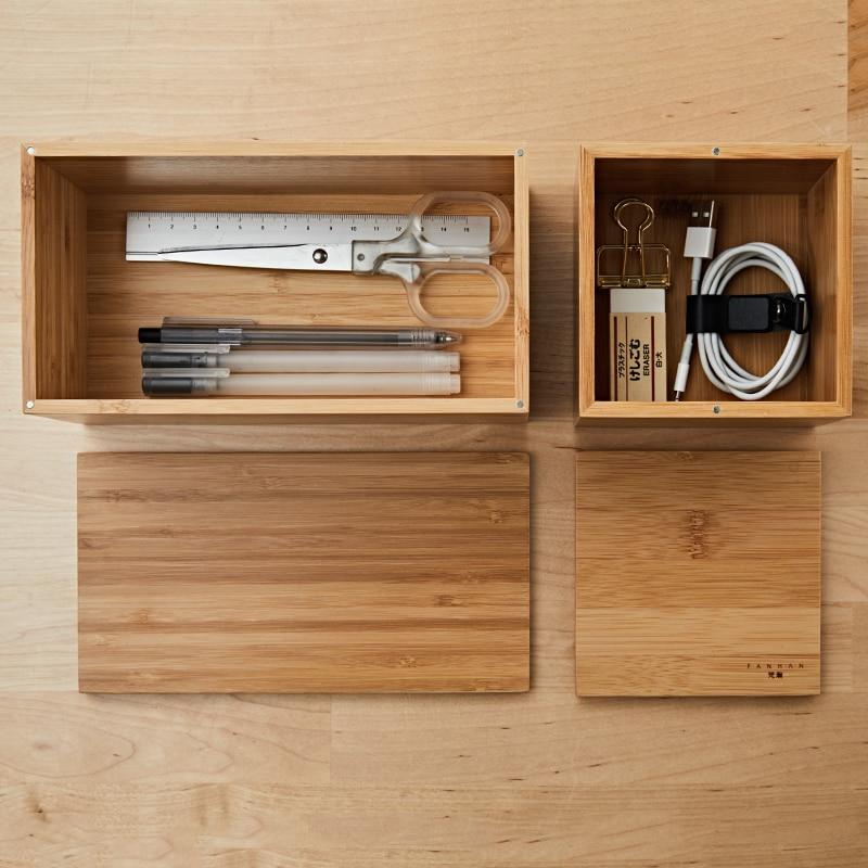Exquisita de bambú caja de almacenamiento de oficina con tapa clave pluma barra de labios maquillaje cosmético artículos cajón de escritorio artículos organizador