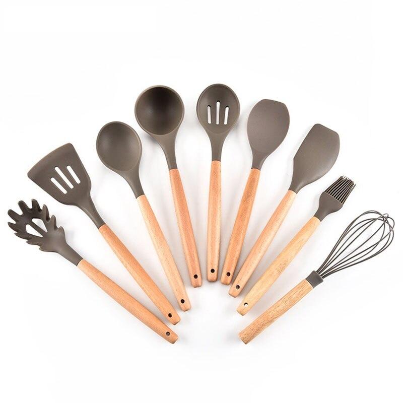 Juego de utensilios de cocina de silicona Premium de 9 piezas, juego de herramientas de cocina para utensilios de cocina antiadherentes, accesorios de cocina para el hogar, madera