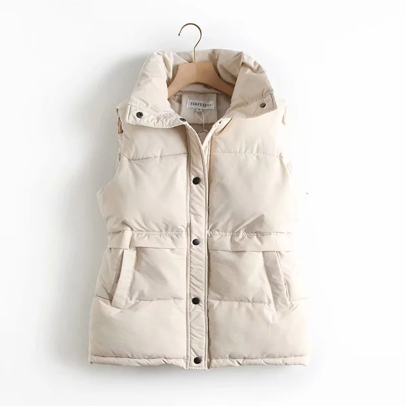 Autumn Winter Women's Solid Loose Vest Drawstring Stand Collar Long Vest Jacket Cotton Padded Women'