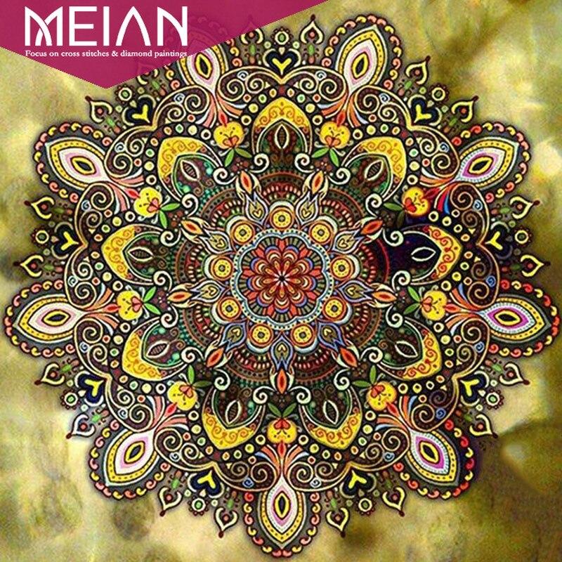 2020 Meian pintura de flores con diamante colorido Mandala diamante bordado 5d pintura flores bordado decoración regalos arte mosaico