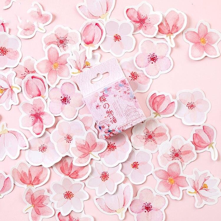 Pink Sakura 45pcs Lot Scrapbooking Stickers Cute Card Making DIY Craft Stickers Photo Album Decoration Stickers cat school 45pcs lot scrapbooking stickers cute card making diy craft stickers photo album decoration stickers