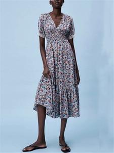 ZA 2021 summer new women's wear European and American retro pastoral style printed V-neck midi dress with flute retro waist