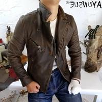 genuine vintage leather jacket men clothes spring autumn 2021 motorcycle cowhide coat plus size 4xl chaquetas hombre