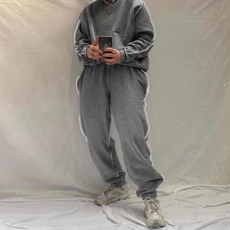YICIYA 2021 Women Tracksuit 2 Piece Set Plus Size Sweatshirt Set Winter Vintage Cotton Leisure Homewear Outfit Solid Black