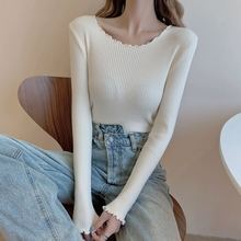 Low-Necked Underwear Blouse Women Slim Fit Inner Wear Sweater Autumn and Winter Wild Candy-Colored H