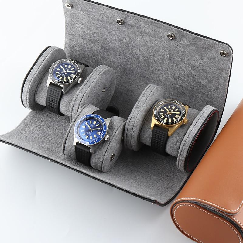 علبة ساعة من الجلد الطبيعي 3 بت ، حامل لفائف ، منظم مجوهرات محمول ، صندوق دائري ، عرض اسطوانة ، هدية ، ملحق أسود