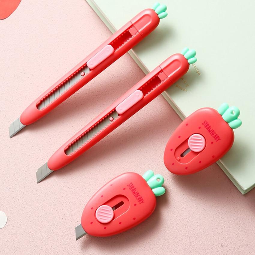 Mini faca de serviço público morango bonito cortador de papel portátil arte diy facas artesanais escritório escola papel envelope cortador papelaria