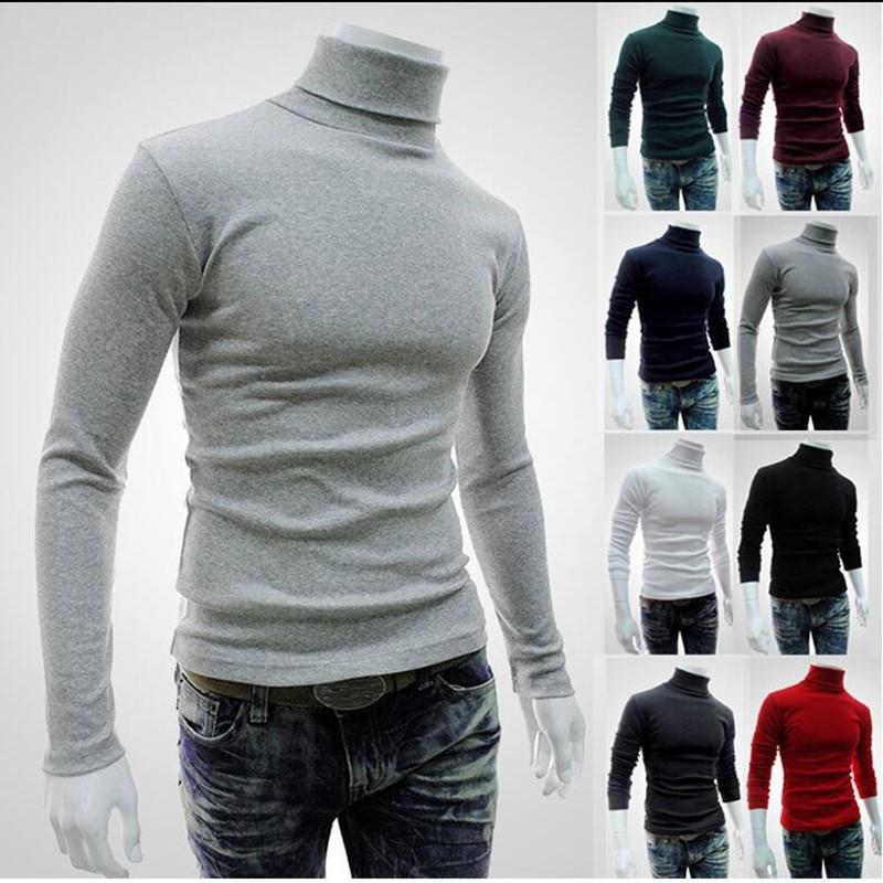 Новинка 2021, осенне-зимний мужской свитер, Мужская водолазка, однотонный Повседневный свитер, мужские облегающие брендовые вязаные пуловеры