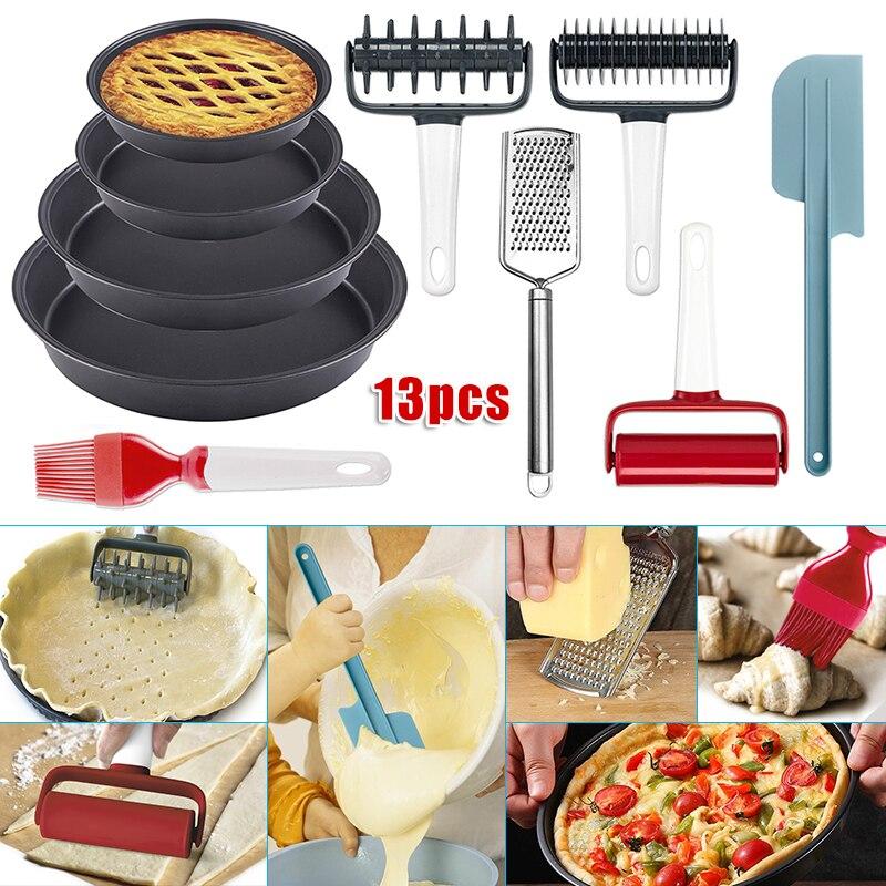 مجموعة أدوات الخبز غير اللاصقة ، 13 قطعة ، دبابيس درفلة ، قاطعة بيتزا ، أواني المطبخ DC156