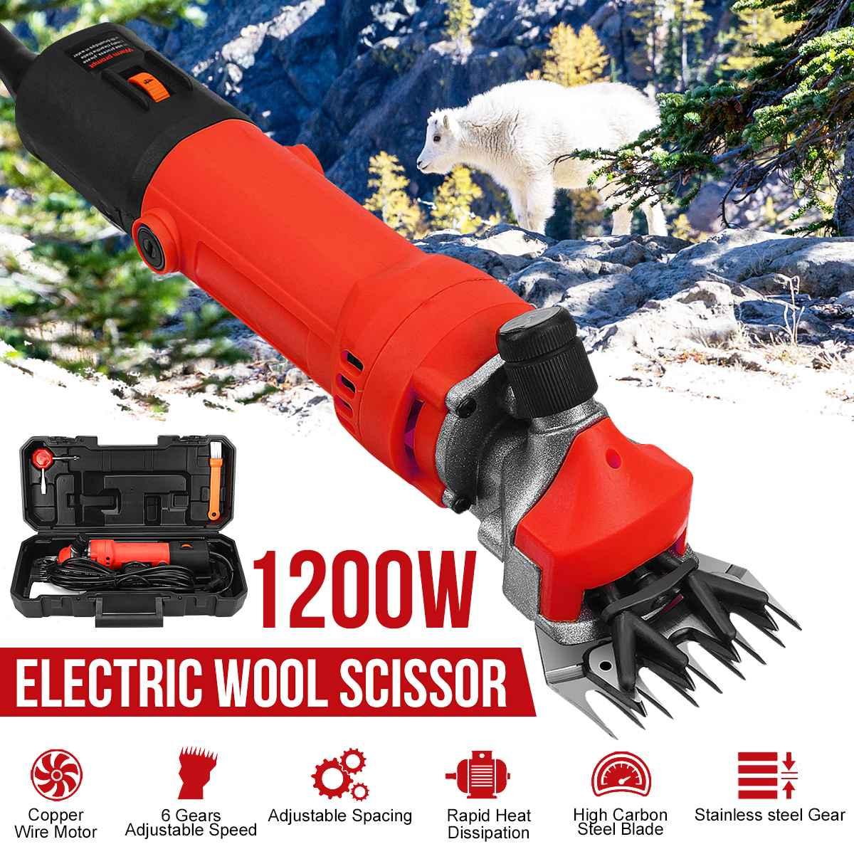6 gears 1200W 110V/220V Electric Sheep Shearing Cutter Scissor Goat Wool Shaving Adjustment Push Trimmer Tool cutter machine