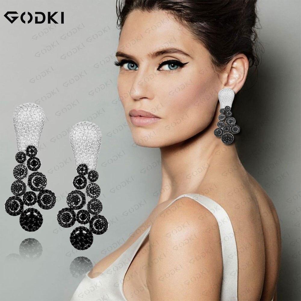 GODKI-أقراط نسائية من الزركونيا المكعبة ، أقراط نسائية متدلية ، دلايات قطرة ماء ، إكسسوارات حفلات الزفاف ، 2021