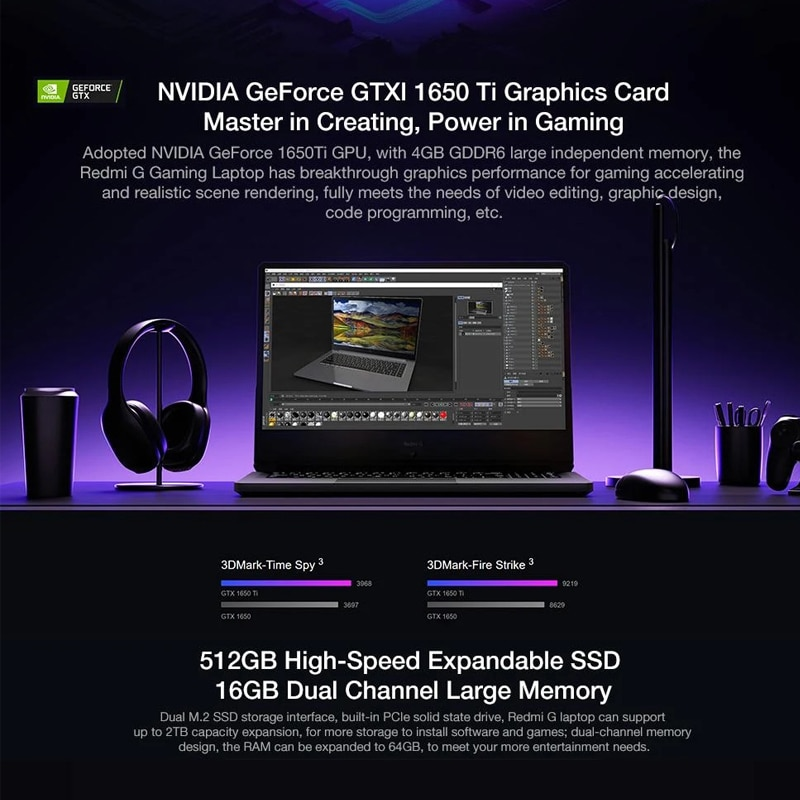 Xiaomi Redmi G Gaming Laptop 16.1 Inch i7-10750H / i5-10300H Game Notebook GTX1650 Ti 16GB DDR4 512GB SSD 100%sRGB Computer PC