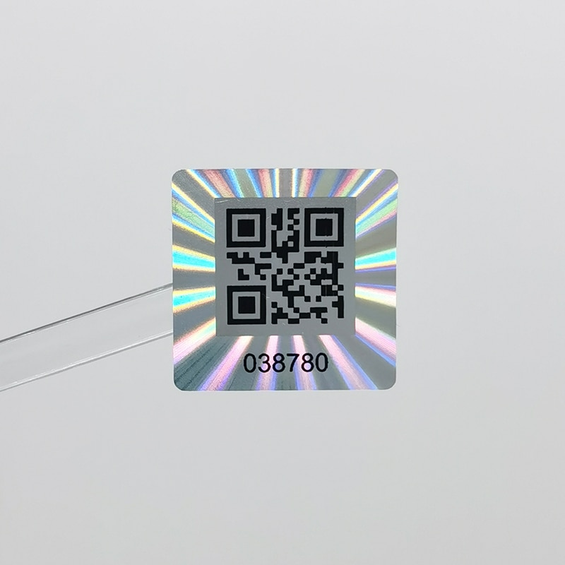 25x25mm 1000pcs Holographic QR Code Sticker, One-Time Tamper Proof, Authentic  Laser Security Label, Customized