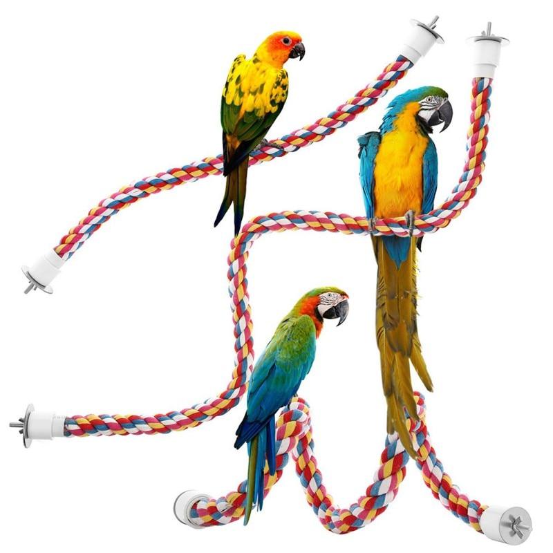 Juguetes para mascotas, loro, pájaro, perchas de cuerda de algodón coloridas, accesorios de jaula, cómoda percha Bungee Bird, accesorios para pájaros