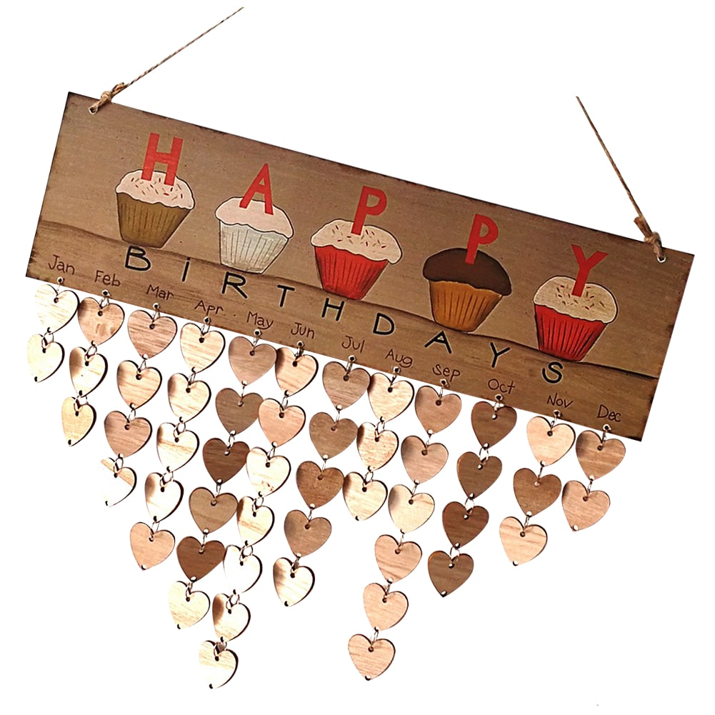 Wooden DIY Wall Hanging Cupcakes Calendar Friend Family Birthday Reminder Calendar Heart Wood Tags Hanging Decoration diy wooden faith family and friends birthday calendar