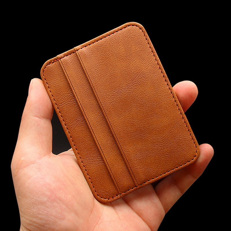 New Thin PU Leather Mini Wallet Slim Bank Credit Card Holder 5 Card Slots Men's Business Small ID Case For Man Purse Cardholder stylish protective pu leather case w card holder slots for iphone 5 pink