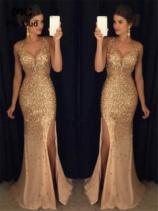 Sparkly Evening Dresses Long Prom Gown Front Slit Tulle Draped Sweep Train O-Neck Evening Party Dress Custom Made