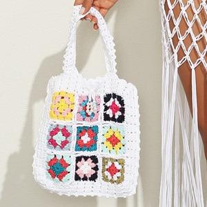 Hollow Woven Women Shoulder Bags Designer Knitted Handbags Large Capacity Tote Woolen Yarn Knitting Beach Bag Purses Shopper Sac
