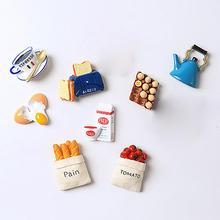 Aimants de réfrigérateur en résine 3D   Mignon, dessin animé œuf lait café tasse pain réfrigérateur autocollant jouet enfants, décoration de cuisine de la maison