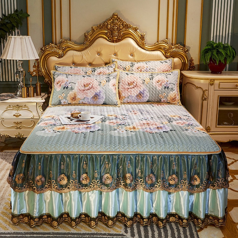 الجليد الحرير حصيرة تنورة نوم مفرش مبطن الدانتيل خمر كامل الملكة الملك انفصال bedدرجات حصيرة التبريد المخدة 3 قطعة