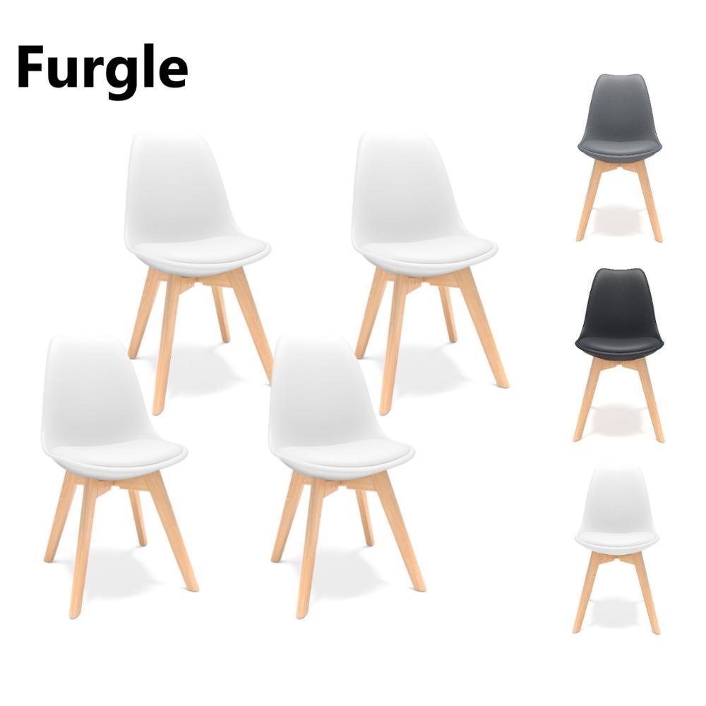 Furgle 4 قطعة/المجموعة الطعام كرسي الاسكندنافية تصميم القهوة الكراسي مع خشب متين الساق وسائد مكتب الكراسي للمطبخ الطعام غرفة