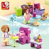 sluban princess town castle park girl bedroom room villa play housechildren building blocks toy gifts or childrens day baby diy