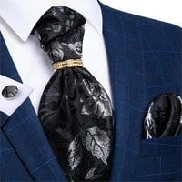 silver leaf black fashion men ascot cravat ties self british style gentleman polyester ascot neck tie luxury tie ring dibangu