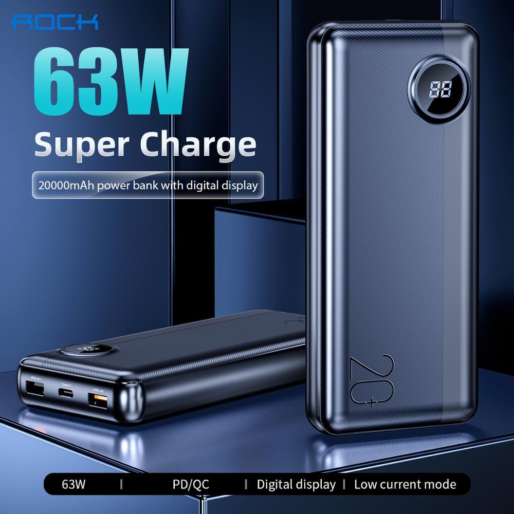 Batería Externa para ordenador portátil ROCK 20000mAh, batería externa PD 63W, batería externa de carga rápida para iPhone, Xiaomi, Samsung, Macbook pro