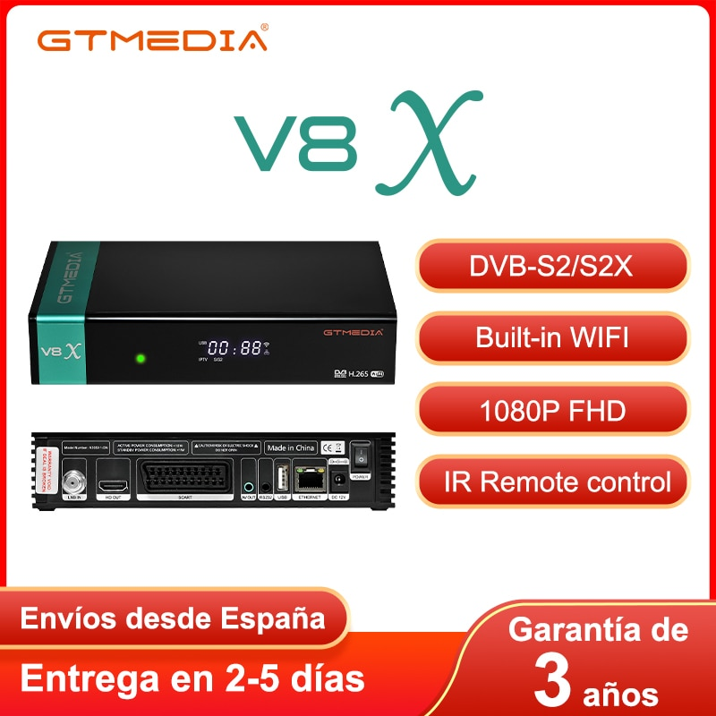 GTMEDIA V8X 1080P استقبال الأقمار الصناعية DVB-S2 S2X الأقمار الصناعية فك دعم H.265 CCAM ترقية بواسطة V8 نوفا شحنها من إسبانيا