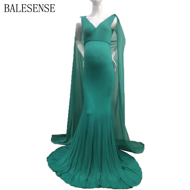 Elegant V Neck Maternity Dresses for Photo Shoot Long Maxi Gown Pregnancy Dress Maternity Photography Dresses With Chiffon Shawl enlarge