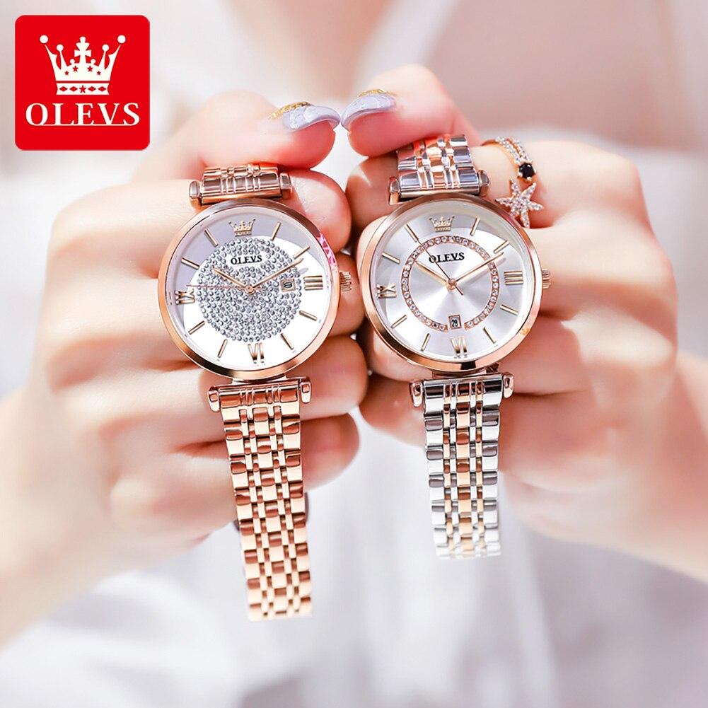 OLEVS Women's Watches Top Brand Luxury Rose Gold Diamond Bing Ladies Watch Calendar Waterproof Stain