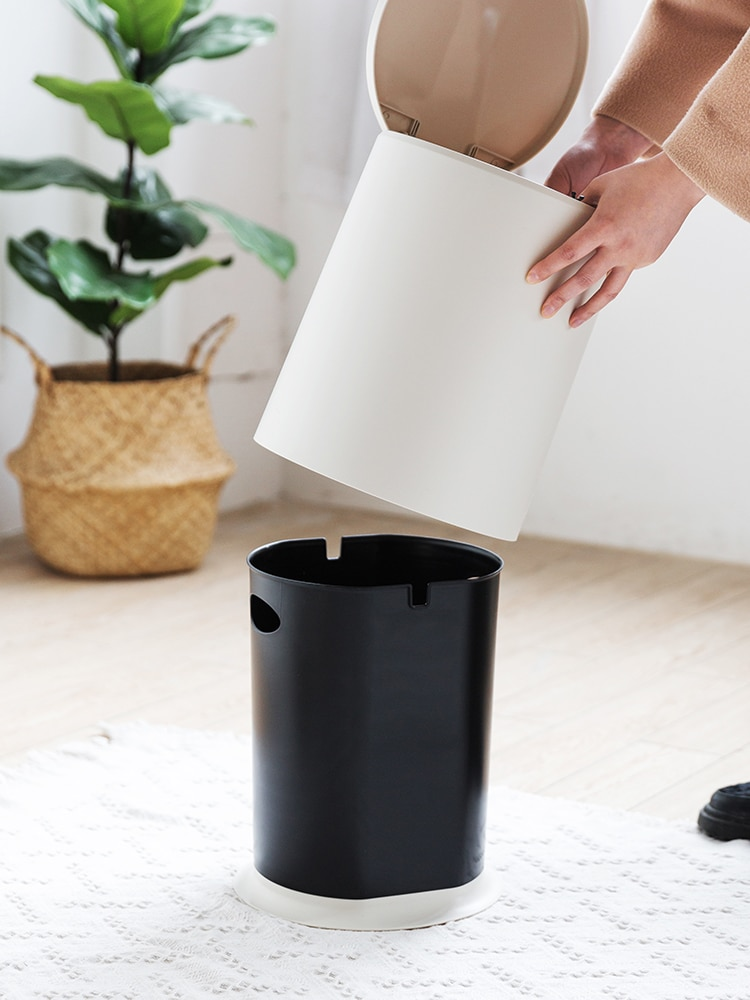 Simply Creative Waste Bin Northern Europe Push with Cover Waste Can Fashion Classification Basurero Household Product DI50LJT enlarge