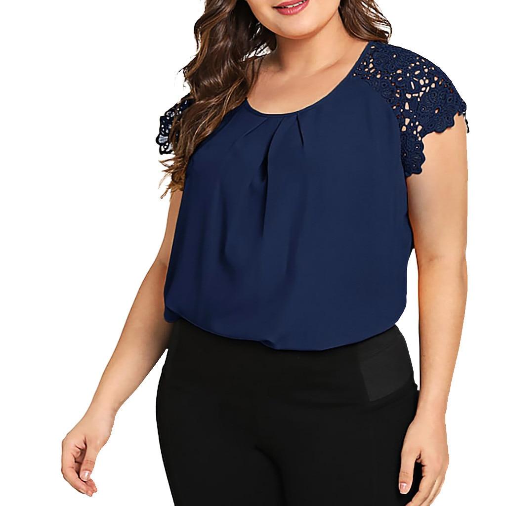 Blusa de renda feminina plus size, 30 # moda feminina gola redonda floral camisas de ombro tamanho grande