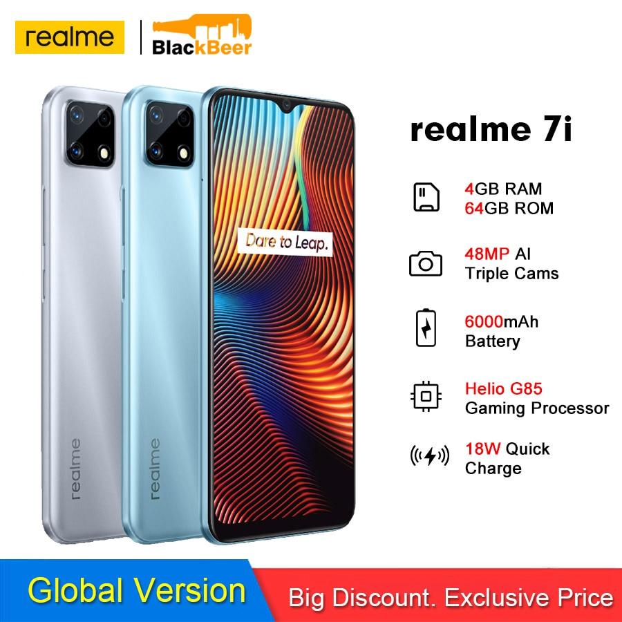 Перейти на Алиэкспресс и купить Realme 7i 6,5 дюймов мобильный телефон 1600*720 дисплей 4 Гб 64 Гб Helio G85 смартфон 48MP Al Тройная камера мобильный телефон 18 Вт Быстрая зарядка