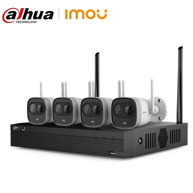 داهوا-مجموعة المراقبة بالفيديو اللاسلكية مع Wifi ، 4 قنوات ، 2 ميجابكسل ، H.265 ، نظام أمان CCTV خارجي ، كشف PIR