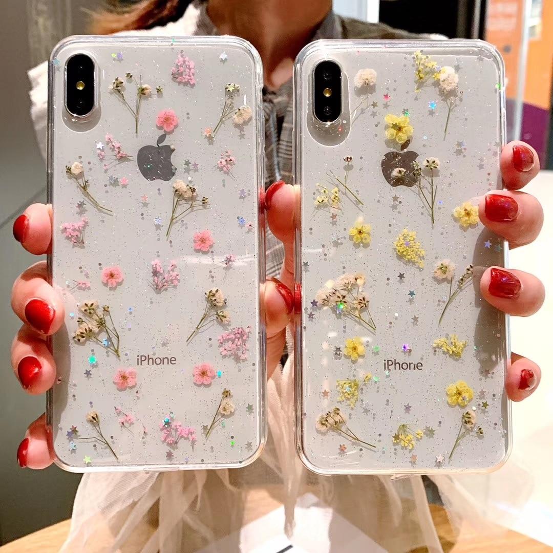 Adecuado para IPhone6/7/7P/8/8P/XR/X/XS/XSMAX/11/11 Pro/11Pro patrón de flores transparente funda de teléfono móvil TPU cubierta protectora