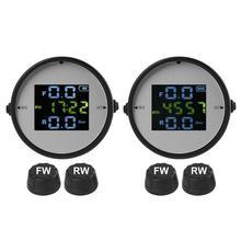 VODOOL-sistema de supervisión de presión de neumáticos TPMS LCD para motocicleta, detector inalámbrico de presión de neumáticos de alta precisión con 2 sensores externos