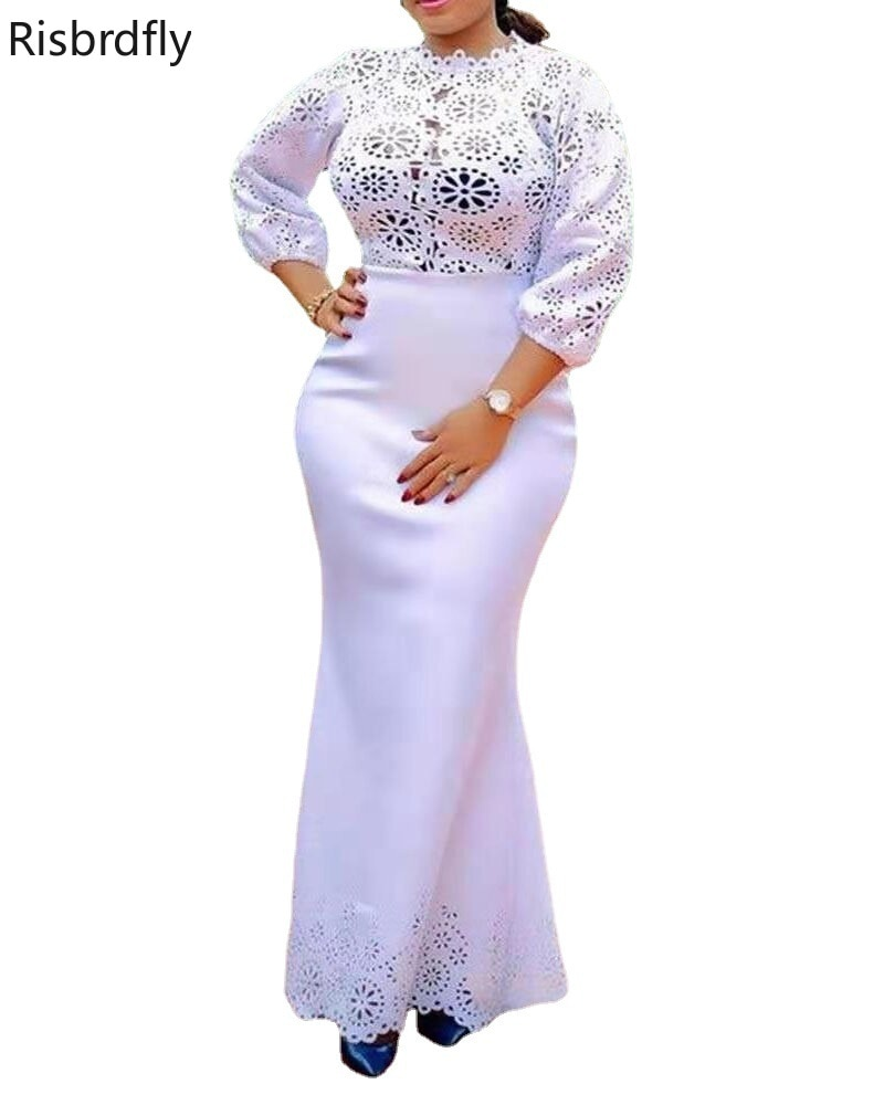 African Dresses for Women 2021 African Women Long Sleeve O-neck White Color Plus Size Long Dress African Clothes S-5XL