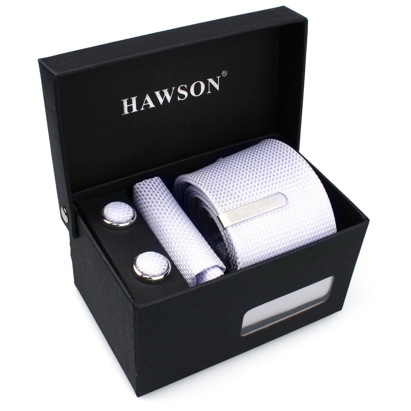 HAWSON Mens Ties Clips Set with CuffLinks Pocket Square Necktie and Tie Bar for Men Shirt Cuff links