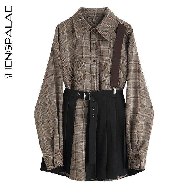 SHENGPALAE 2020 New Fashion Women Plaid Shirt Female Tops Long Sleeve Casual Turn-down Collar Women's Loose Strap Blouse ZA3210