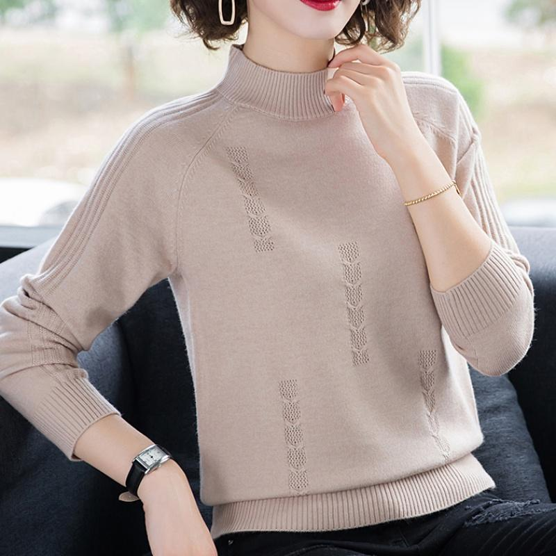 women pullover loose embroidery knitted solid color long sleeve jumper streetwear sweaters tops pullovers female clothes autumn Turtleneck Sweater Autumn Winter Knitted Pullovers Women Sweaters Casual Loose Long Sleeve Solid Color Female Jumper