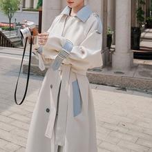 Trench Coat Women Autumn New 2021 Double Breasted Fashion Korea Style Fashion Loose Stitching Long C