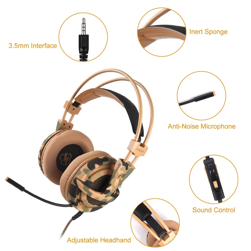 LETTON L1 Camouflage Gaming Headset With Microphone For Smartphone Handphone PC Gammer Over Ear Wired Headphones Free Shipping enlarge