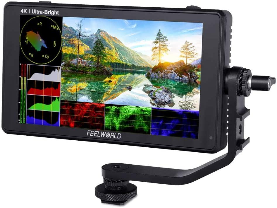 FEELWORLD-شاشة المجال LUT6 لكاميرا DSLR ، 6 بوصات ، 2600 شمعة ، HDR ، 3D LUT ، شاشة تعمل باللمس ، مع منظار موجه الموجي ، histogr 4K HDMI