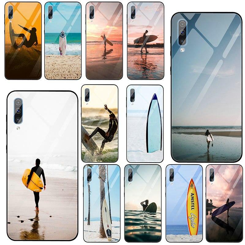 Tablas de Surf en azul, funda de vidrio templado para Samsung S8 S9 S10 J4 A8 A9 A10 A20 A40 A50 A70 A80 Plus